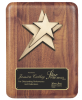 Rounded Edge Solid Walnut with Star Casting Wall Plaque Awards