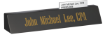 Black Marble Desk Name with Business Card Slot Boss Gift Awards