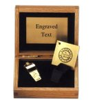 Gold Brass Award Whistle with Velvet Lined Oak Display Box Coach Awards