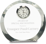 Crystal Round Clock Employee Awards