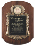 Walnut Cast Corporate Scalloped Plaque Employee Awards