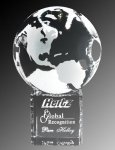 World Globe & Pedestal Crystal Award Prestigious Optic Crystal