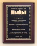 Rosewood Piano Finish Plaque with Brass Plate Recognition Plaques