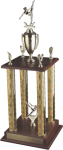 4 Column Wood Base Trophy Two Tier Trophies